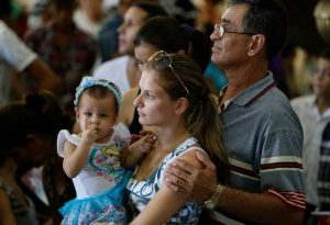 Families gather for a meeting with Pope Francis at the Cathedral of Our Lady of the Assumption in Santiago, Cuba, last Sept. 22. (CNS photo/Paul Haring)