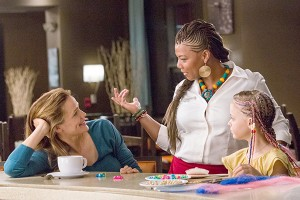 "Jennifer Garner, Queen Latifah and Kylie Rogers star in a scene from the movie ""Miracles From Heaven."" (CNS photo/Columbia Pictures)"
