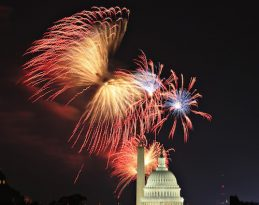 Fireworks light up the sky over Washington for Independence Day. The annual U.S. holiday marks the anniversary of the adoption of the Declaration of Independence in 1776. (CNS photo/Hyungwon Kang, Reuters)