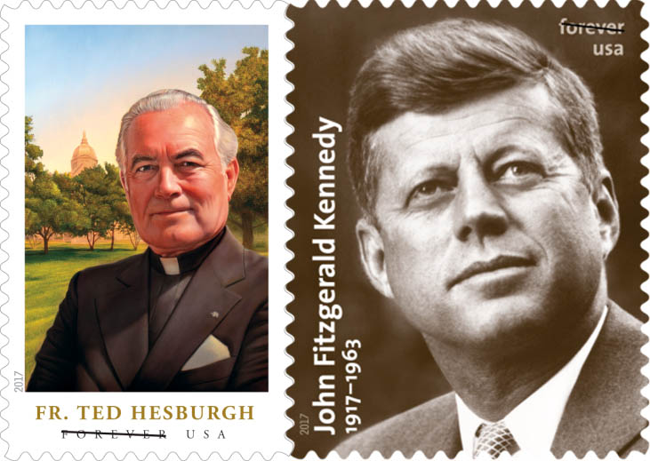 Father Hesburgh Jfk To Be Honored On Postage Stamps In 2017 The Rh Stcloudvisitor Org Stamped Penny