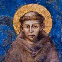 "St. Francis of Assisi is depicted in this detail from ""Madonna Enthroned with the Child, St. Francis and four Angels,"" a fresco executed by Giovanni Cimabue between 1278-80, in the lower church of the Basilica of St. Francis Basilica in Assisi, Italy. (CNS photo/Octavio Duran) (June 7, 2013)"