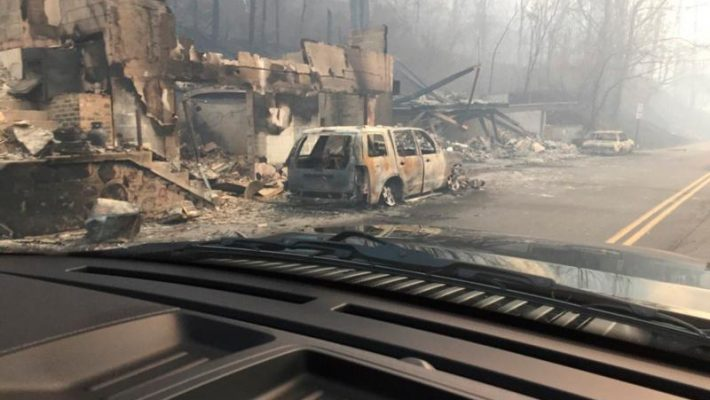 Burned buildings and cars are seen Dec. 1 in Gatlinburg, Tenn., in the aftermath of wildfires. (CNS photo/courtesy Tennessee Highway Patrol, handout via Reuters)